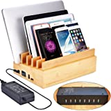 Avantree 100W 10 Ports Bamboo Multiple Devices USB Charger & Charging Station Stand, QC3.0, Type C, for New MacBook, Tablets, Smartphones - PowerPlant