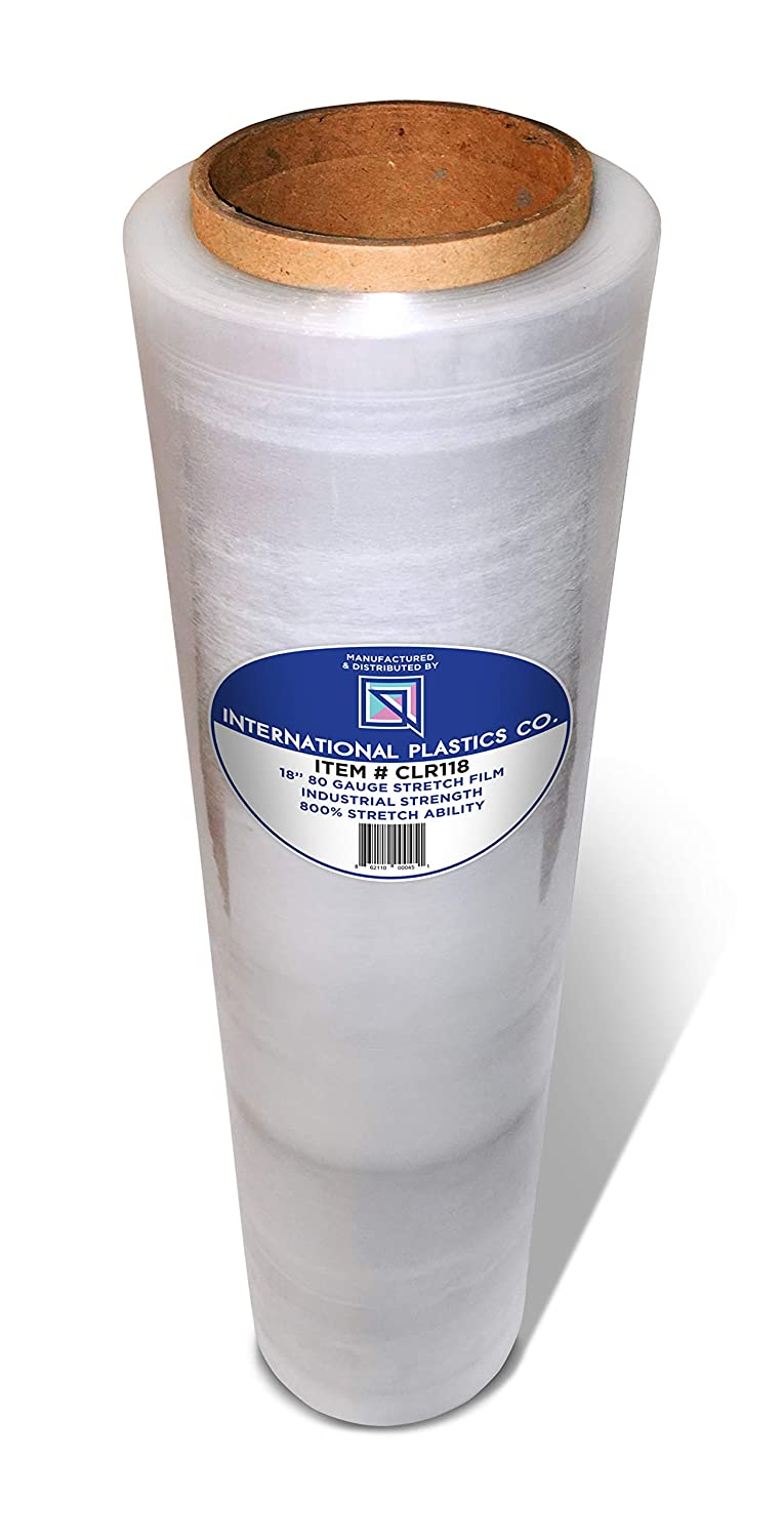 """18"""" Stretch Film/Wrap 1100 feet 7 Layers 80 Gauge Industrial Strength 20 Microns Clear Cling Durable Adhering Packing Moving Packaging Heavy Duty Shrink Film (1)"""