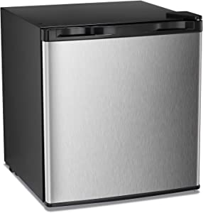 Antarctic Star Compact Chest Upright Freezer Single Door Reversible Stainless Steel Door, Compact Adjustable Removable Shelves for Home Office, 1.1 cu.Silver