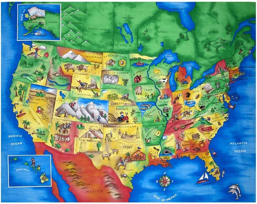us map fabric panel Amazon Com Fabric Traditions Map Of The United States 35 5in