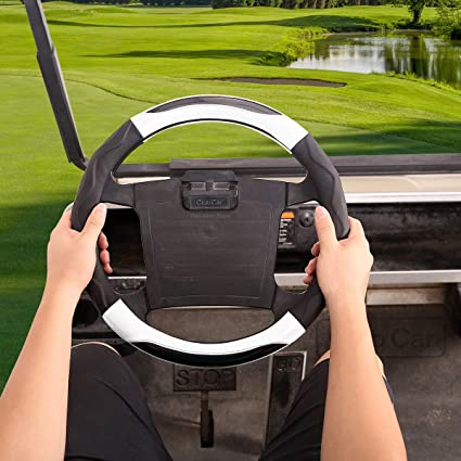 Amazon Com 10l0l Golf Cart Steering Wheel Cover For Club Car Ds Precedent 14 Inch Black White Sports Outdoors