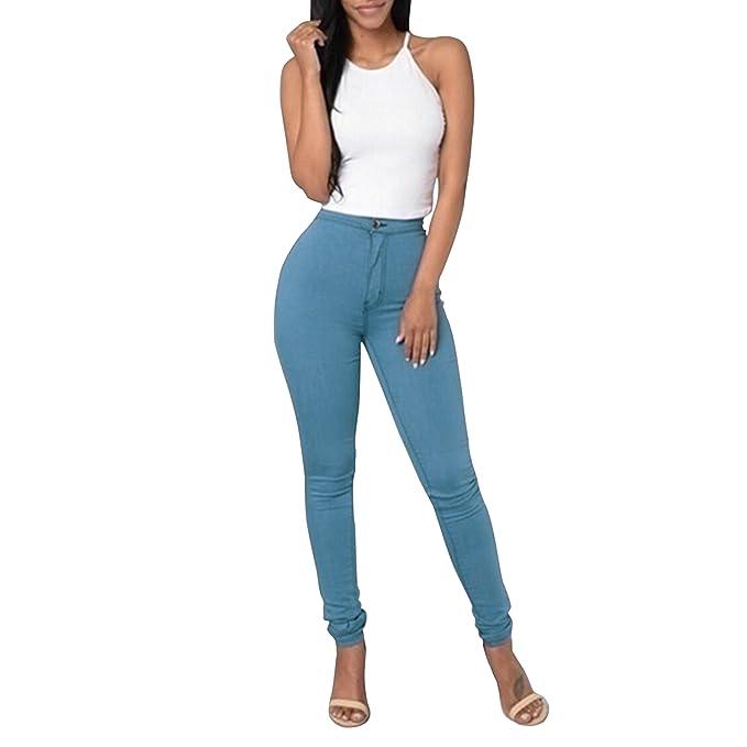 eba9863e5026 LAEMILIA Damen Hohe Taille Hose Jeanshose Leggings Bleistift Freizeit (EU  36(Tag L)