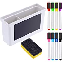Boao Whiteboard Magnetic Plastic Holder, 8 Pieces Colorful Magnetic Markers with Eraser Cap, Magnetic Whiteboard Eraser…