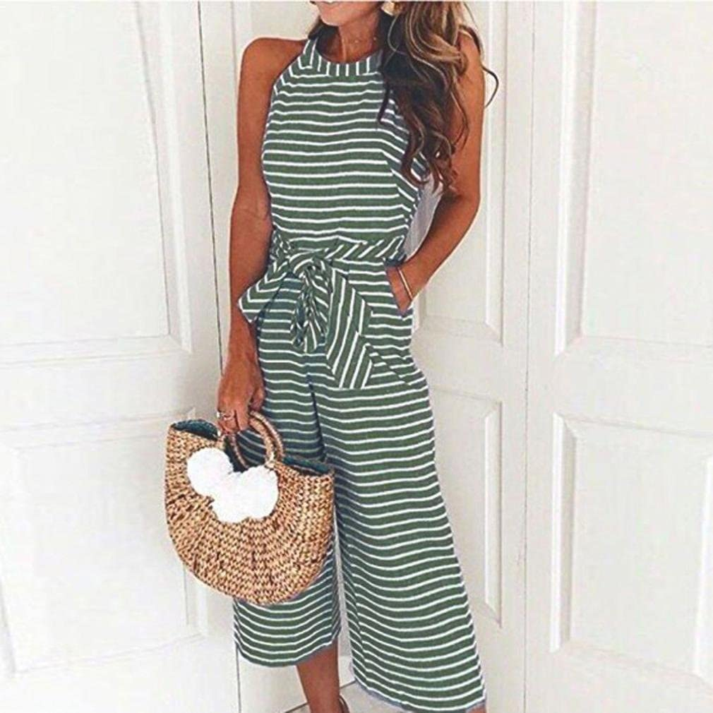 Pink, L Casual Adjustable Waistband Bow Jumpsuits Striped Wide Leg Playsuits Bravetoshop
