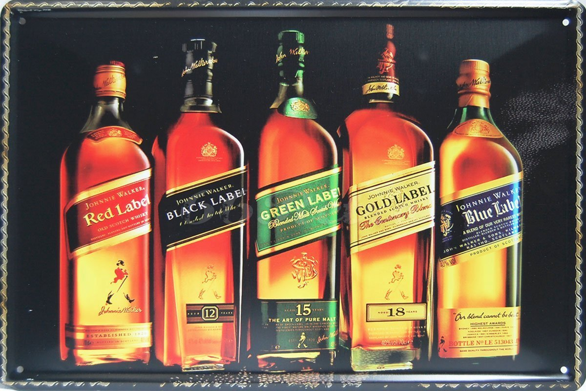 Johnnie Walker, Whiskey Metal Tin Sign, Retro Vintage Tin Sign 8 X 12 for Home & Bar&Coffee Decoration
