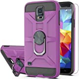 Galaxy S5 Case,Galaxy S5 Phone Case with HD Screen Protector YmhxcY 360 Degree Rotating Ring Kickstand Holder Dual Layers of