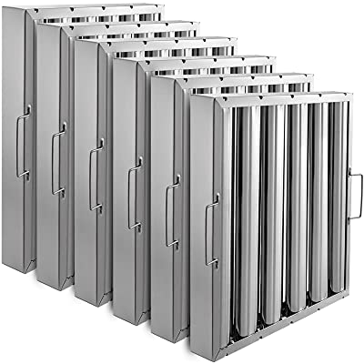 Set of 6 Stainless Steel Restaurant Hood Filter//Baffle for Commercial Kitchen 15.5W x 19.5H