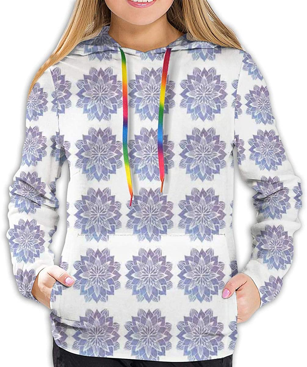 Womens Hoodie,Hand Drawn Style Watercolor Flowers Frame Nature Inspired Hippie Design,Lady Sweatshirt