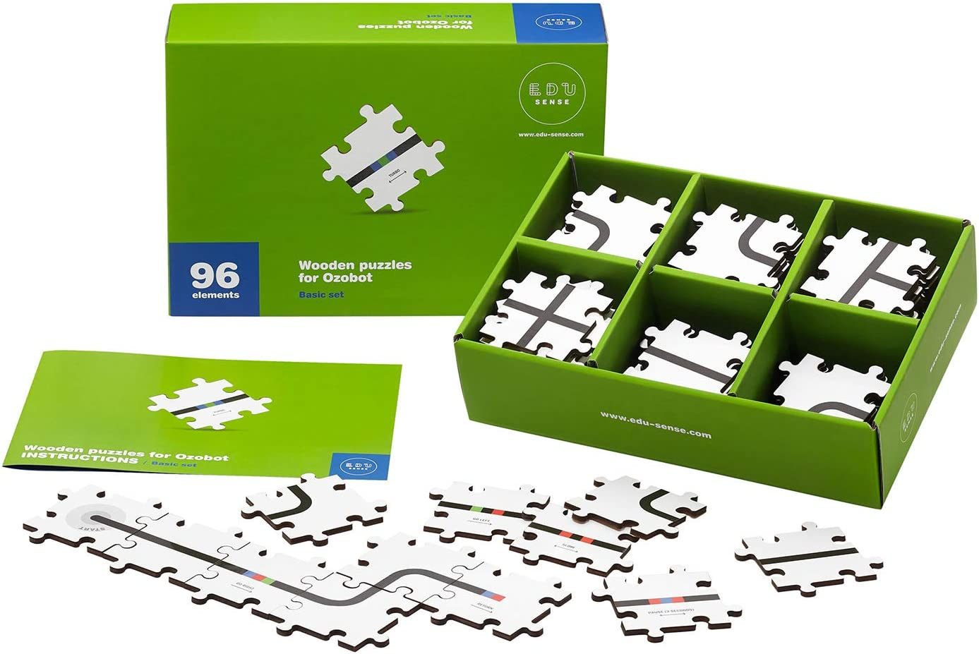 Wooden Puzzles for Ozobot | Basic Set of 96 Pieces | Develops Creativity, Logical Thinking & Learns The Basics of Programming | Educational Toy | Kids Coding Kit | for Children Aged 5 and More