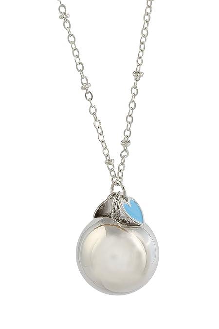 prezzo più basso 976dd a1191 CHIAMA ANGELI CAMPANELLO BOLA MESSICANA rodiata con argentoè con collana  cm.100 cuore AZZURRO