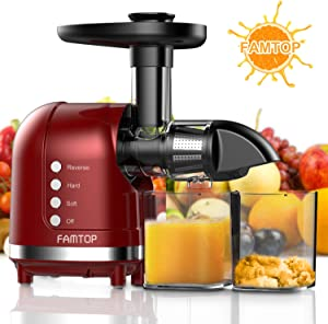 FAMTOP Slow Masticating Juicer Extractor with Reverse Function Quiet Motor Cold Press Machine Higher Yield from Fruit and Vegetable Easy to Clean, Red