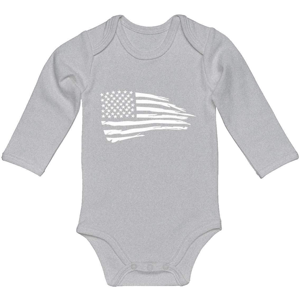Baby Romper American Flag 100/% Cotton Long Sleeve Infant Bodysuit