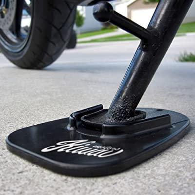 KiWAV Motorcycle kickstand pad support black x1 piece soft ground outdoor parking: Automotive