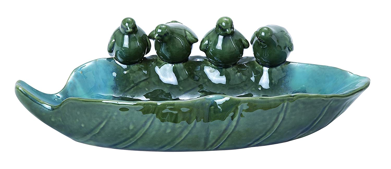 Benzara Ceramic Bird Basin with Attractive Detail, Glossy Green Finish 40823
