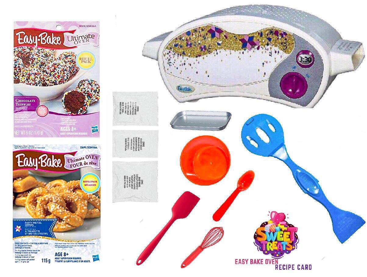 Easy Bake Ultimate Oven Baking Star Edition + 2 Oven Refill Mixes + 2 Sweet Treats Tasty Oven Recipes + Mixing Bowl, Spoon, Spatula, Whisk (8 Total Items) (red) by Easy Bake (Image #1)
