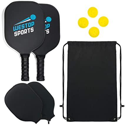 Westop Sports Pickleball Paddle Set - Bundle Includes 2 Graphite Paddles + 2 Paddle Covers +