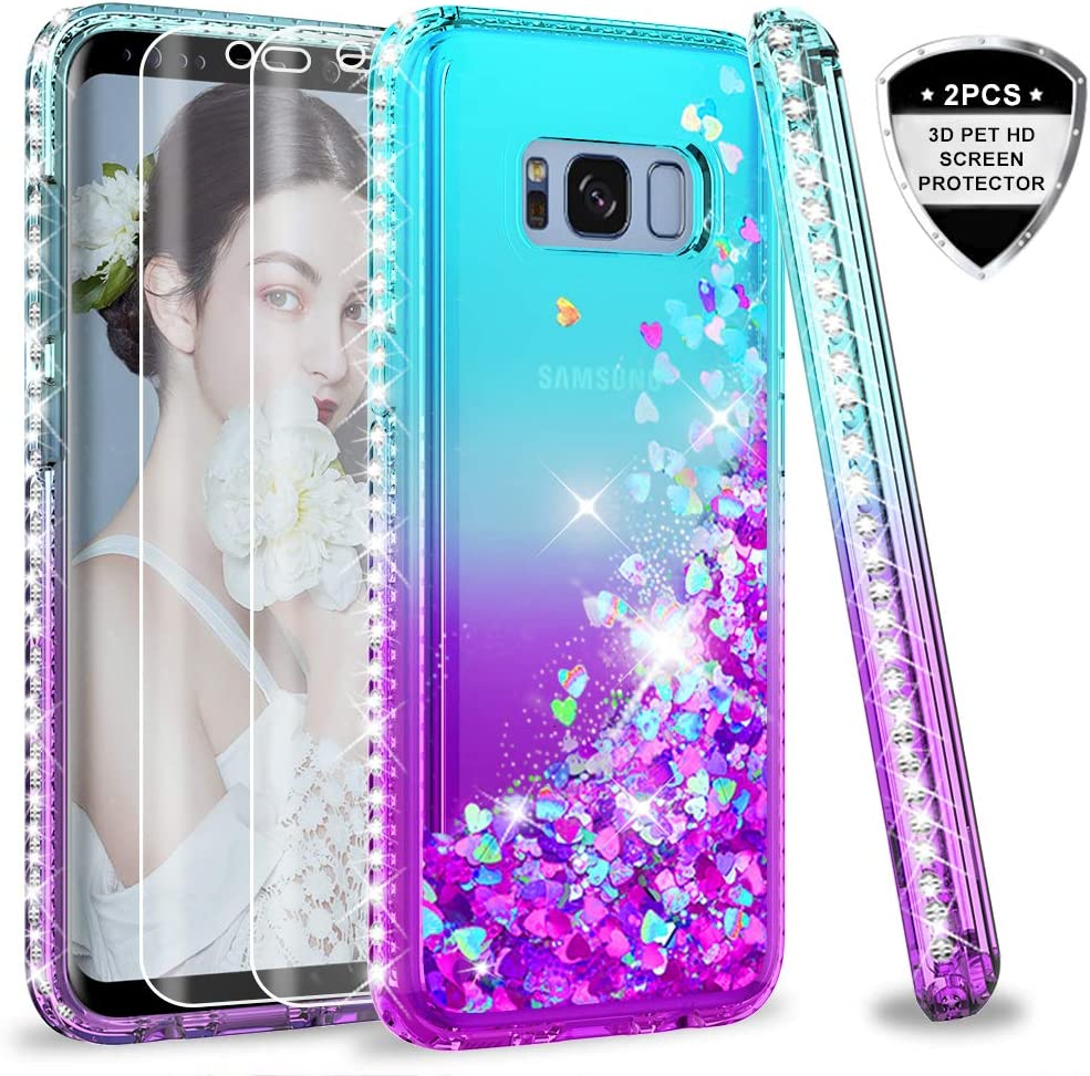 Samsung Galaxy S8 Case with 3D PET Screen Protector [2 Pack] for Girls Women, LeYi Glitter Cute Bling Liquid Quicksand Clear Protective Phone Case for Samsung S8 ZX Teal/Purple