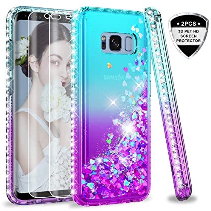 Samsung Galaxy S8 Plus Case (Not Fit S8) with 3D PET Screen Protector [2 Pack] for Girls Women, LeYi Glitter Cute Bling Liquid Quicksand Clear ...
