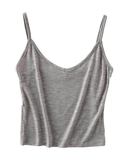 cc2caa602e1cb7 Micmall Cami Camisole Short V-Neck Spaghetti Strap Women's Tank Top Grey at Amazon  Women's Clothing store: