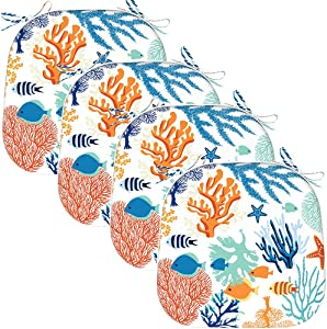 EAGLE PEAK Indoor Outdoor Seat Cushion with Ties, Decorative Chair Pads for Office Decoration Patio Garden Furniture Home Chair Cushions, Set of 4, 16x17 inch, Underwater World Coral