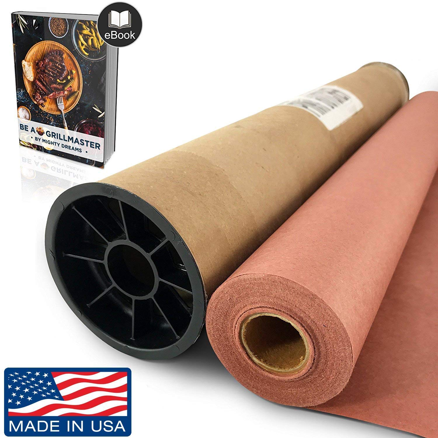 "Pink/Peach Butcher Paper Roll (24"" x 150') in Durable Carry Tube & eBook 