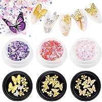 EBANKU 3 stks Vlinder Nail Art Steentjes + 3 stks Manicure Vlinder Pailletten, 3D Legering Vlinder Boog Zirkoon Nagel…