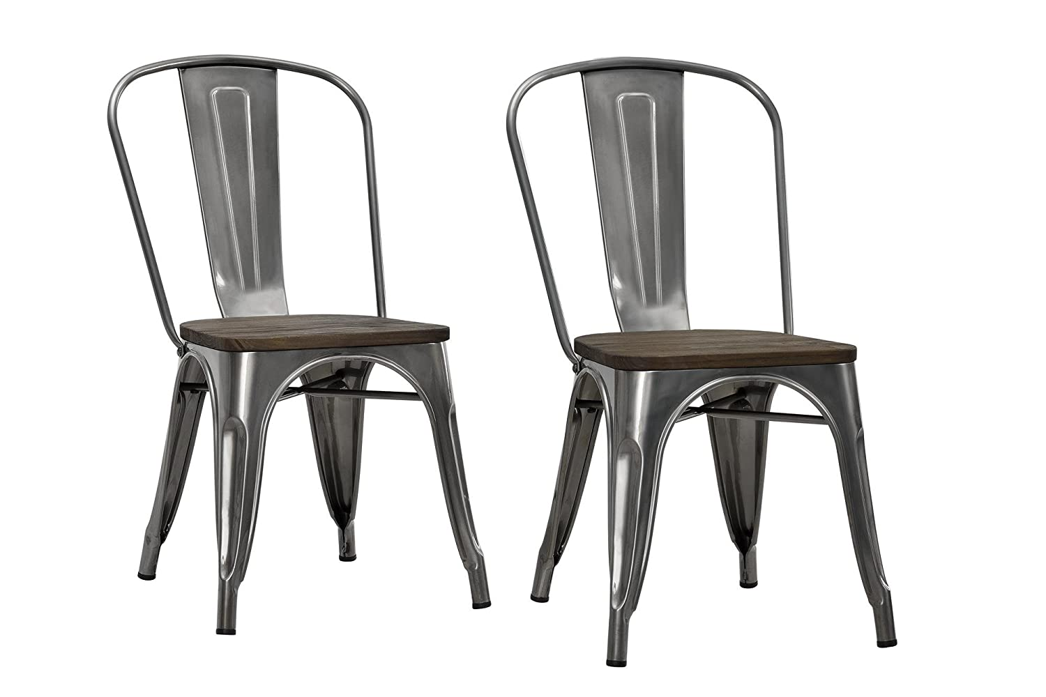 Amazon DHP Fusion Metal Dining Chair With Wood Seat Set Of Two Antique Gunmetal Kitchen