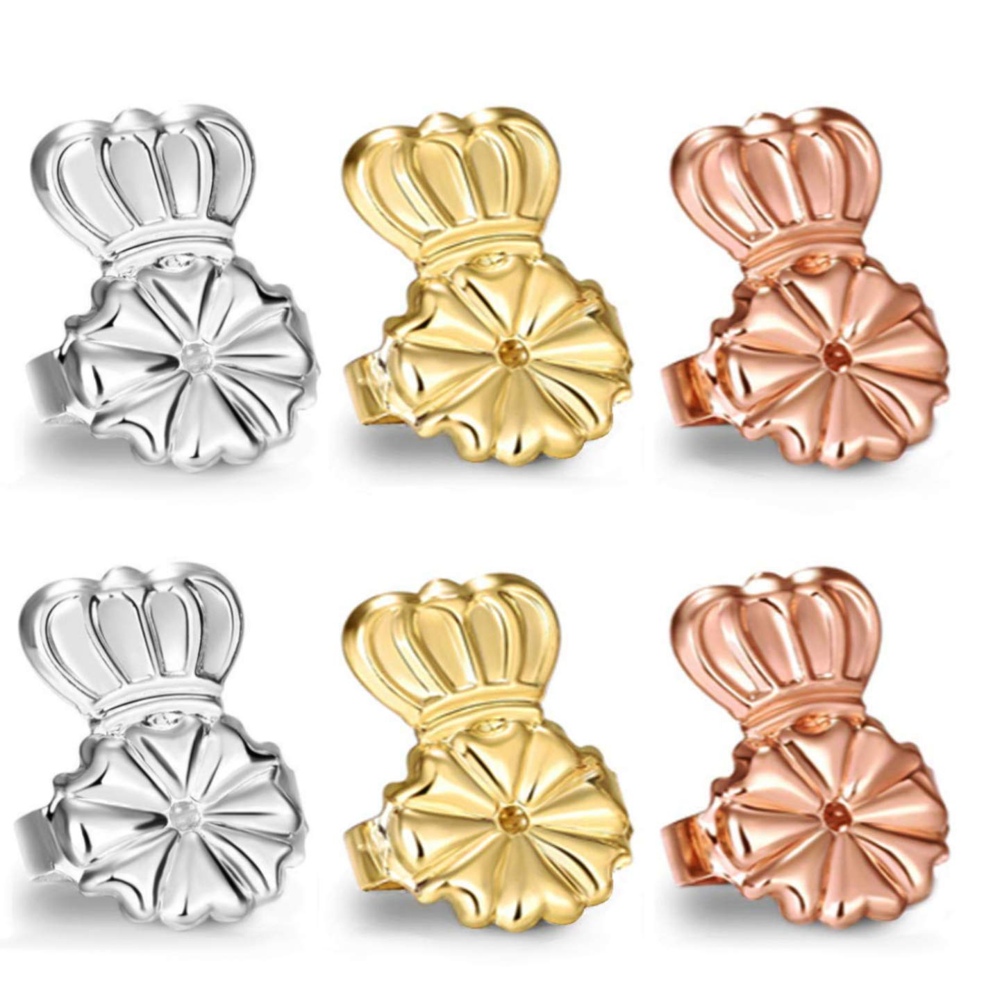 AmzonBasics - Original Magic Earring Lifters 3 Pairs of Adjustable Earring Lifts Earring Backs (Pair of Sterling Silver, Pair of 18K Gold Plated and Pair of Rose Gold) by CROCODILOO KIDS