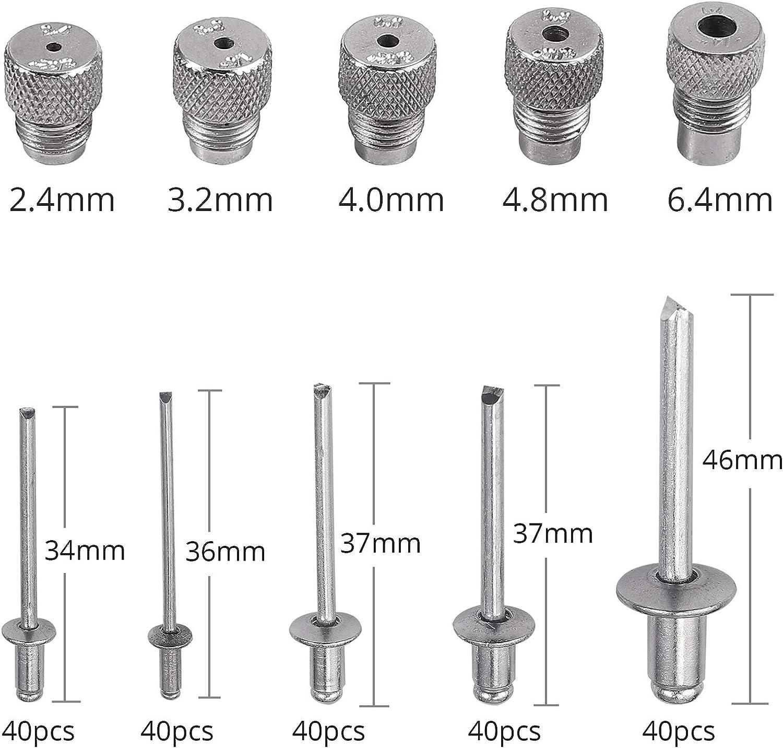 Camway Nietzange Set 16 Blindnietzange Hebelnietzange Doppelte Verbundscharniere Inkl 5 Mundstücke 2 4 Mm 3 2 Mm 4 0 Mm 4 8 Mm 6 4 Mm Mit Nieten 200 Stück Baumarkt