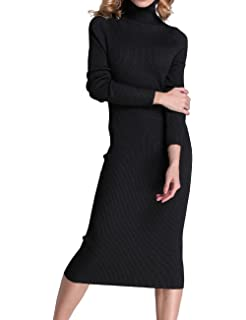 39ae96f0fa Rocorose Women's Turtleneck Ribbed Elbow Long Sleeve Knit Sweater Dress