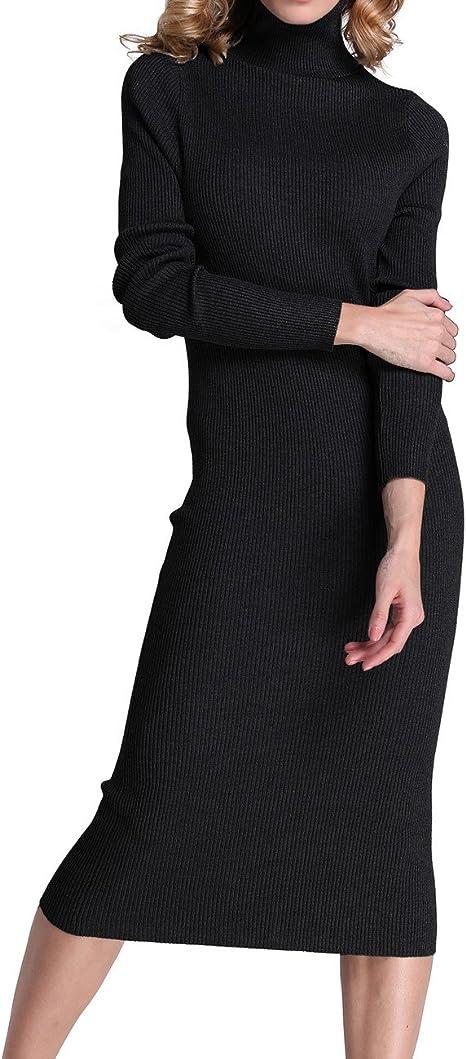 Rocorose Turtleneck Ribbed Sweater Dress