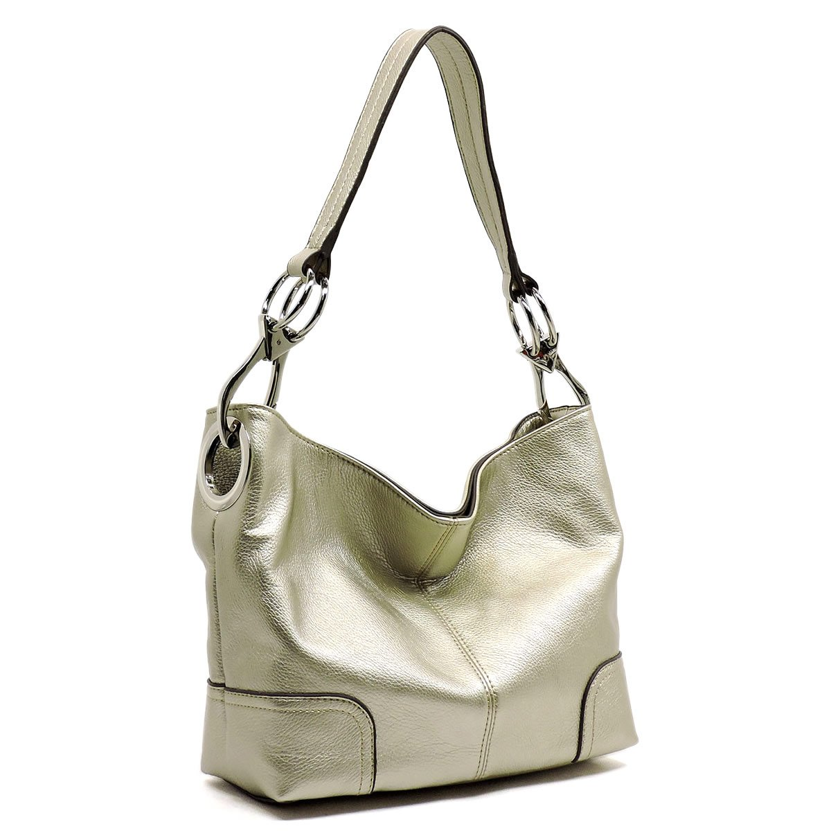 Americana Bucket Style Hobo Shoulder Bag with Big Snap Hook Hardware