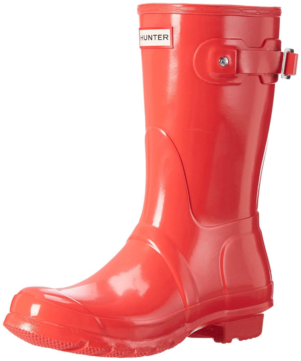 Hunter Women's Original Short Bright Coral Gloss Mid-Calf Rubber Boot - 6M
