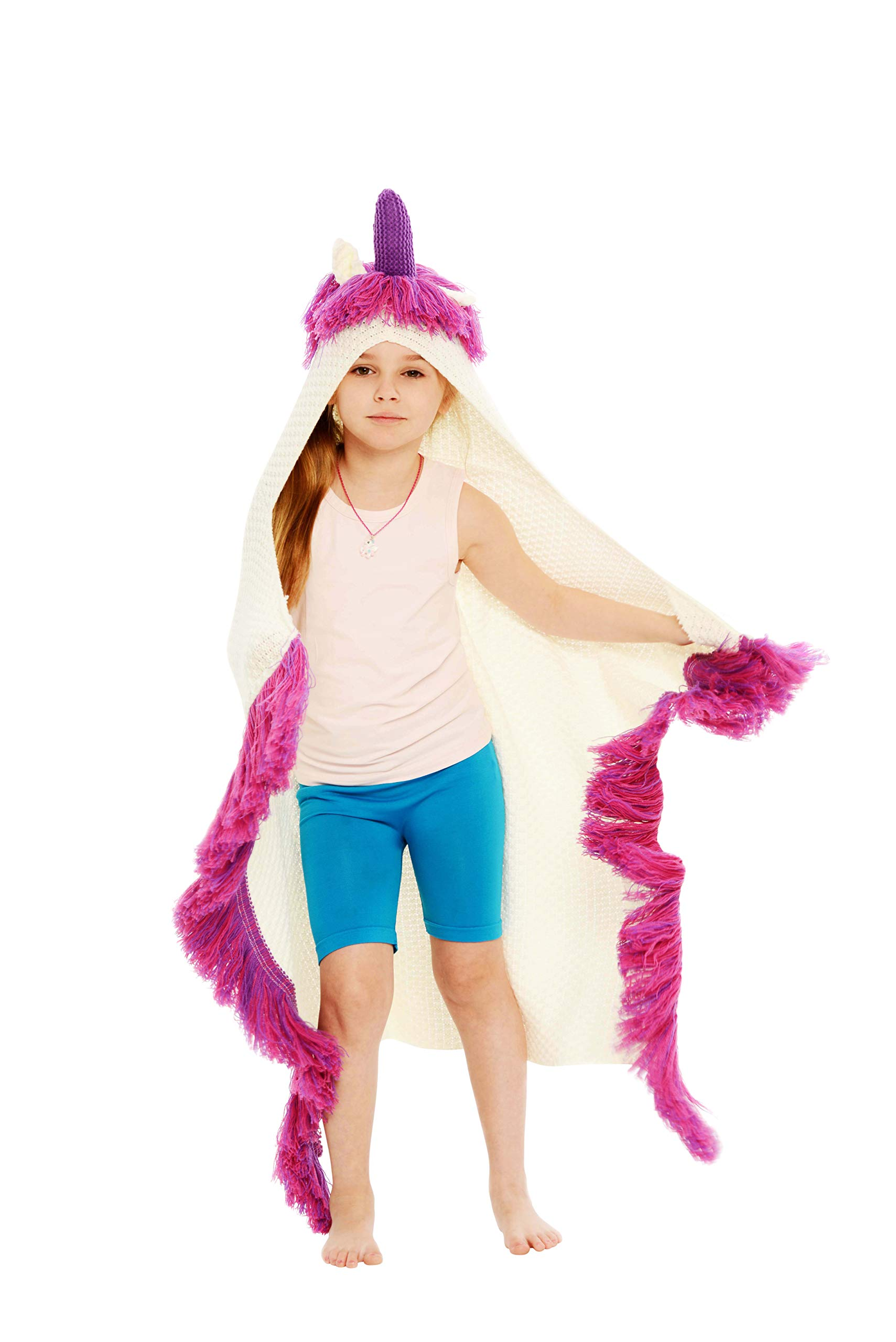 Rows of Throws Hypoallergenic Unicorn Blanket with Hood for Kids - Rare Purple Horn Model