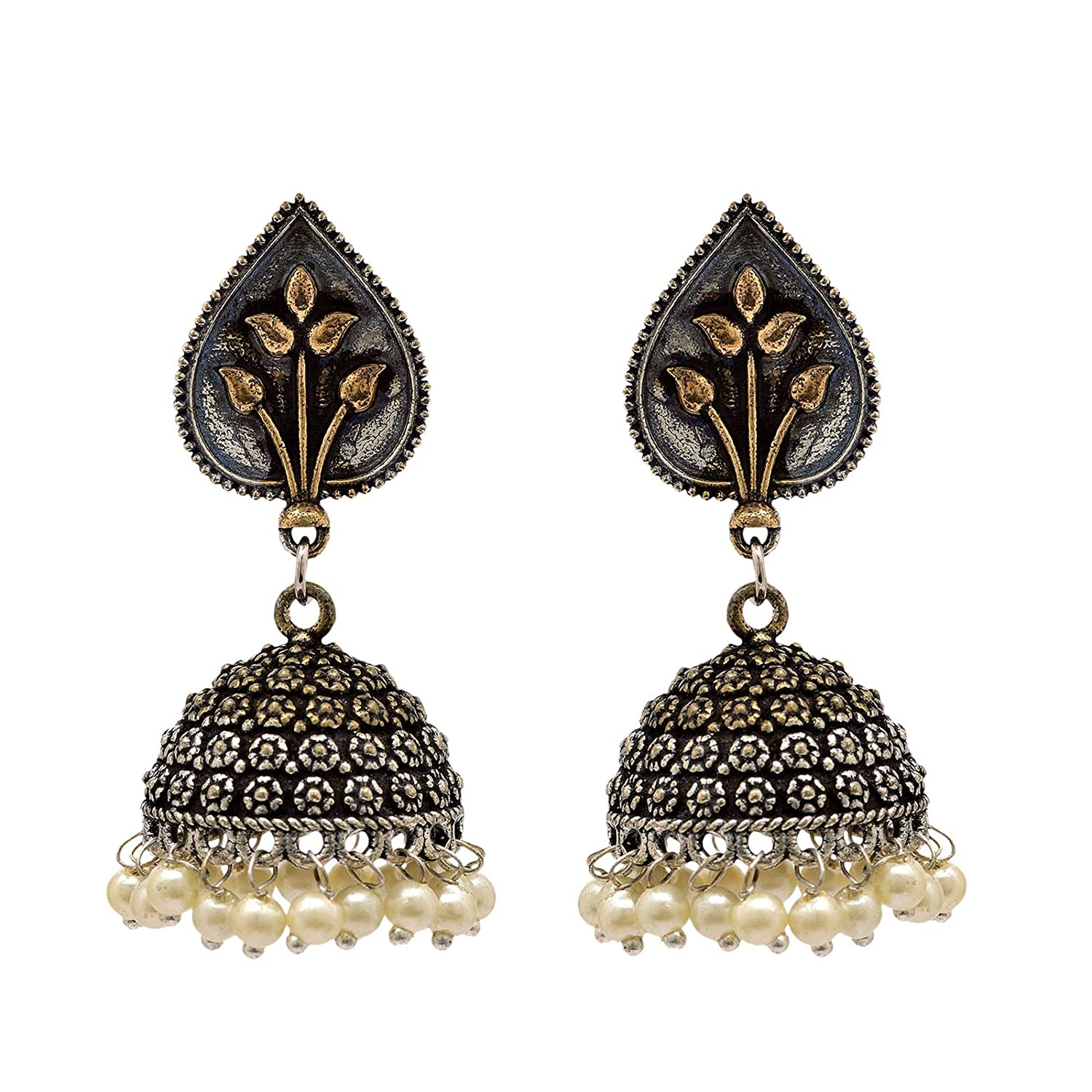 Color Lane Contemporary Oxidized Silver Jhumka Earrings Gold Tone Set Of 3 Floral CO-1181