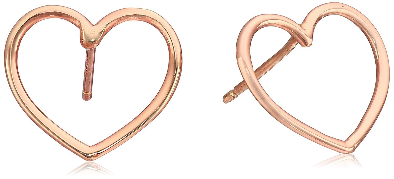 14k Italian Heart Stud Earrings