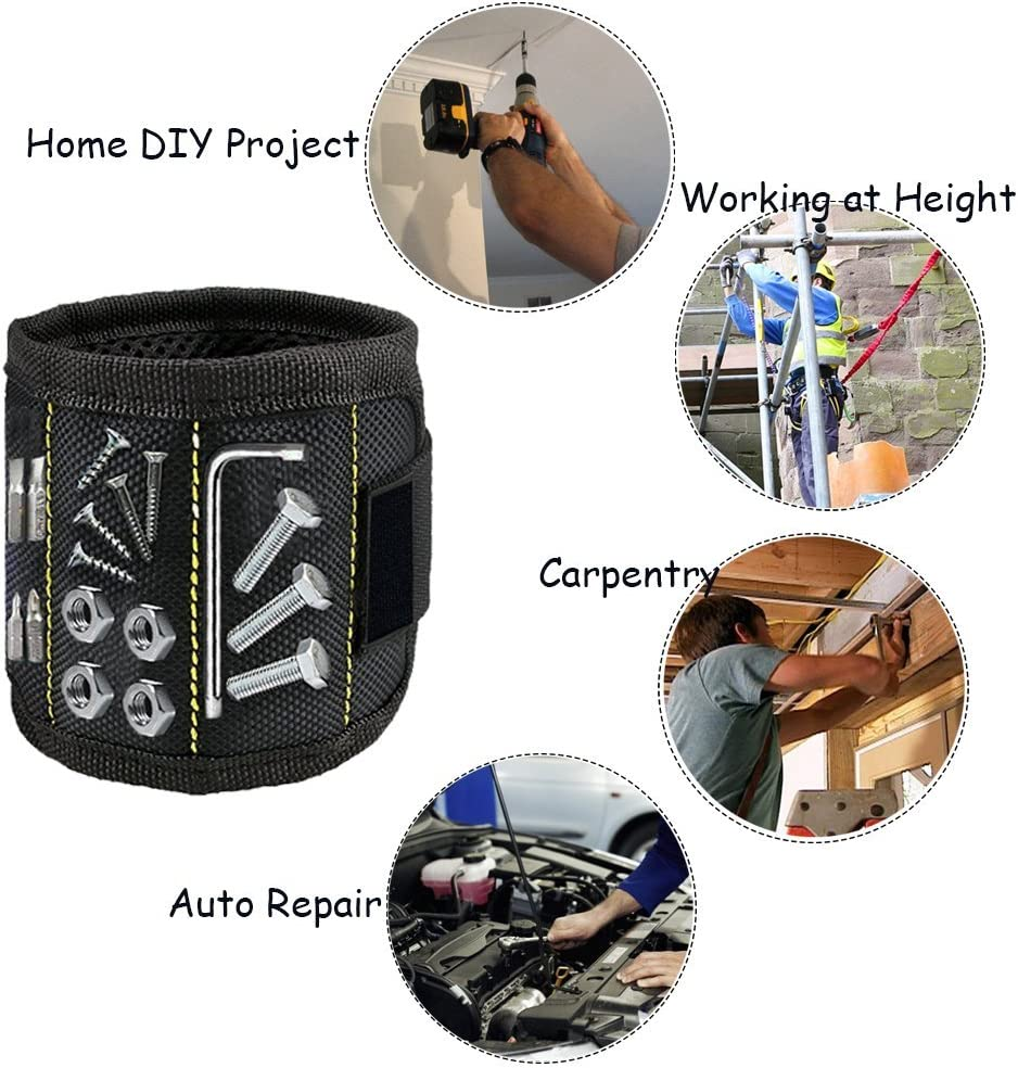 Adjustable Wrist Band Holder for Screws Zzanggu Magnetic Wristband Tool Holder with Powerful Magnets Nails Drill Bits and DIY Handyman