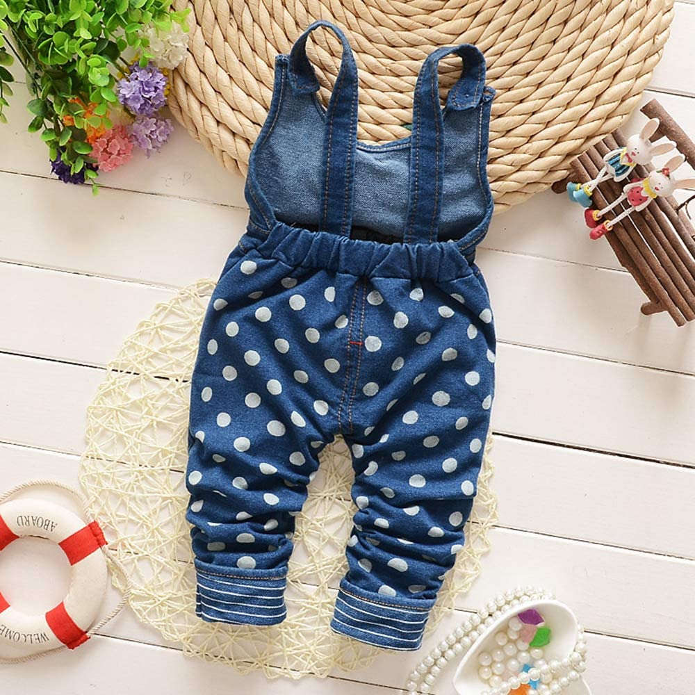Kidscool Space Baby Toddler Girls Soft Knitted Cotton Denim Cute Cartoon Overalls