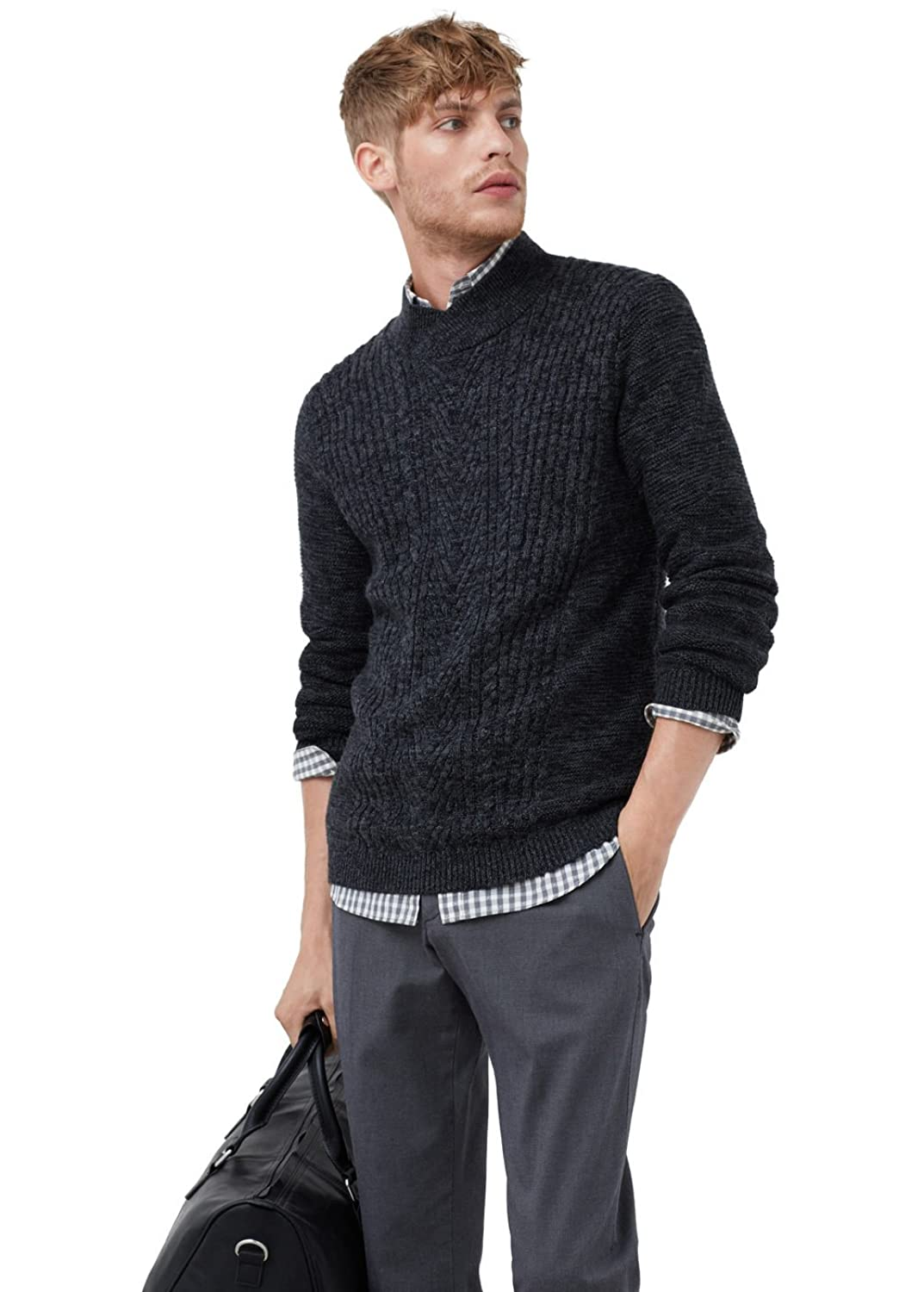 MANGO MAN - Cotton wool-blend sweater - Size:M - Color:Dark Grey