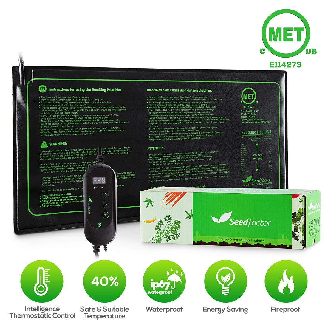 Seedfactor MET certified Seedling Heat Mat with 50℉~108℉ Digital Thermostat Controller for Seed Germination (10'' x 20'')