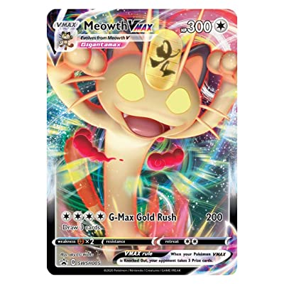 Meowth VMAX - SWSH005 Black Star Promo - Pokemon Promo Sword & Shield Card: Toys & Games