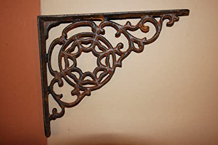 Set Of 2 Lattice Shelf Bracket Brace Rustic Antique Brown Cast Iron Corbel Cheapest Price From Our Site Antiques