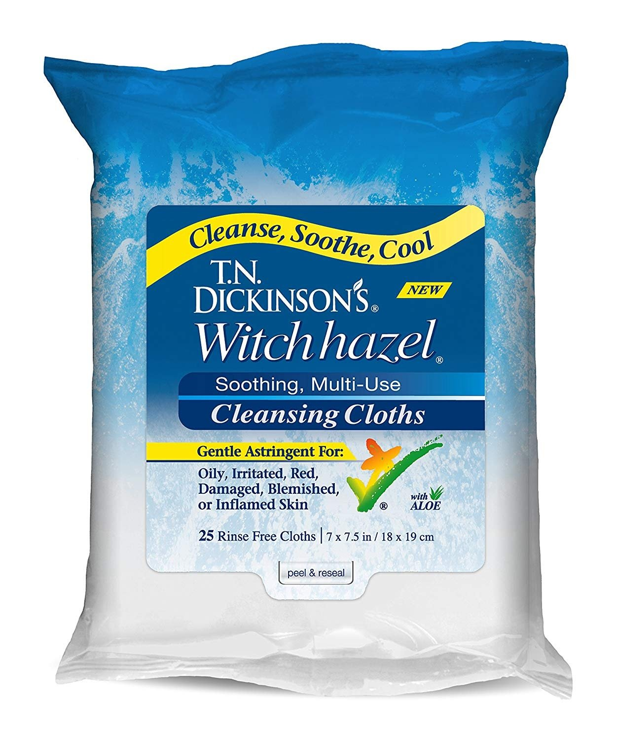 T.N. Dickinson's Witch Hazel Cleansing Cloths, 25 Cloths (Pack of 4)