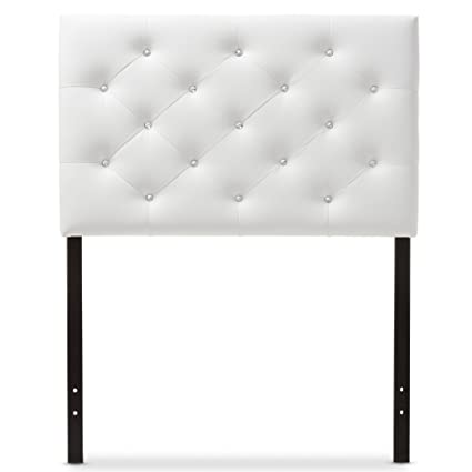buy popular 1aae3 65bc3 Baxton Studio Yvette Modern and Contemporary White Faux Leather Upholstered  Button Tufted Headboard, Twin