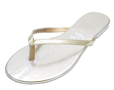 8219899f0b540f Ladies Flat Gold Toe-Post Slip-On Sandals Flip-Flops Slider Mules Shoes