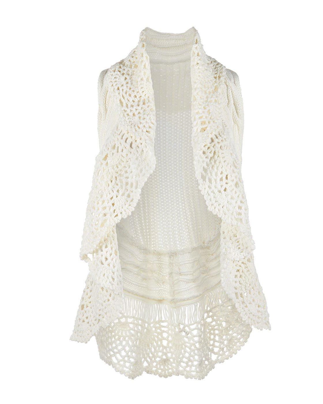 Coco + Carmen Women's Crochet Collar Cable Vest Cream S/M