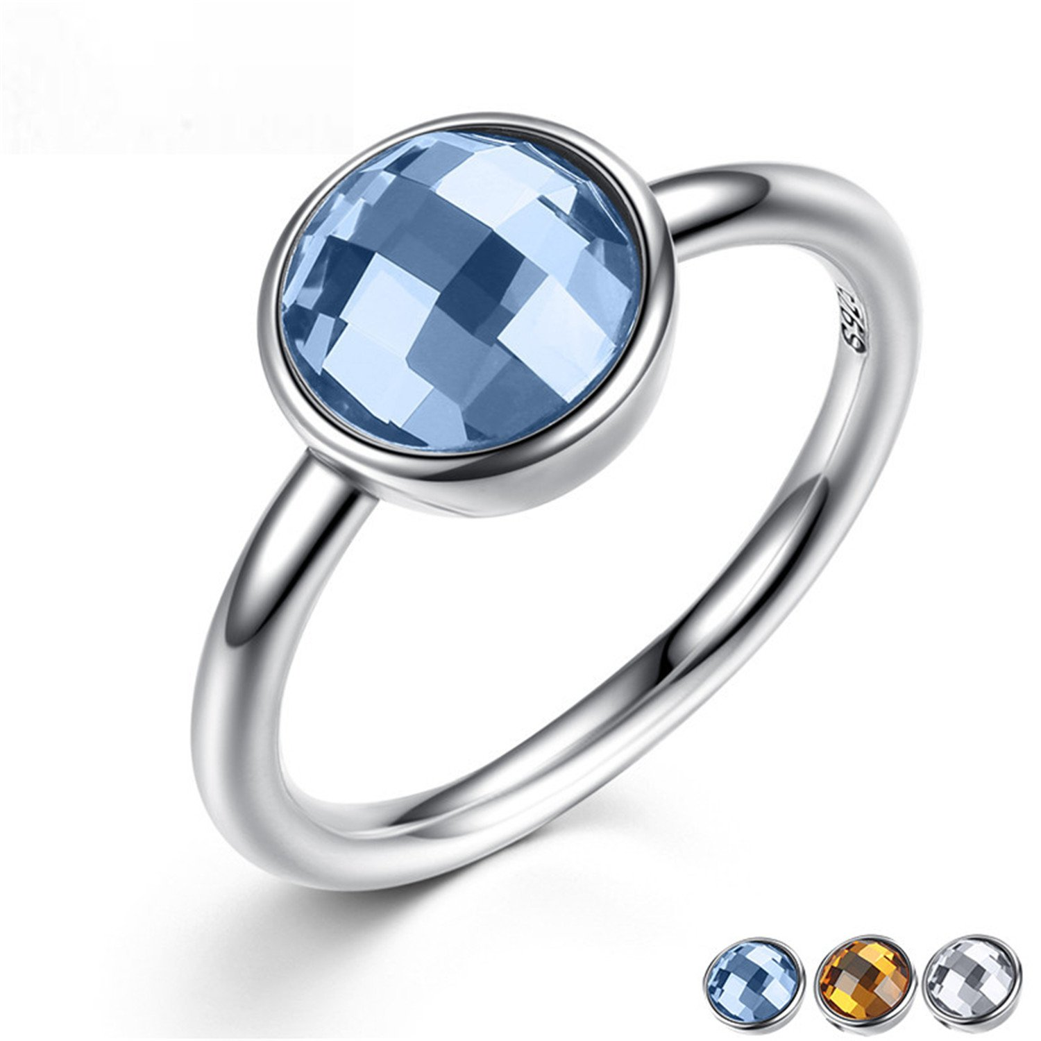 Amazon Com Baqijian Summer Collection Pure Sterling Rings Blue