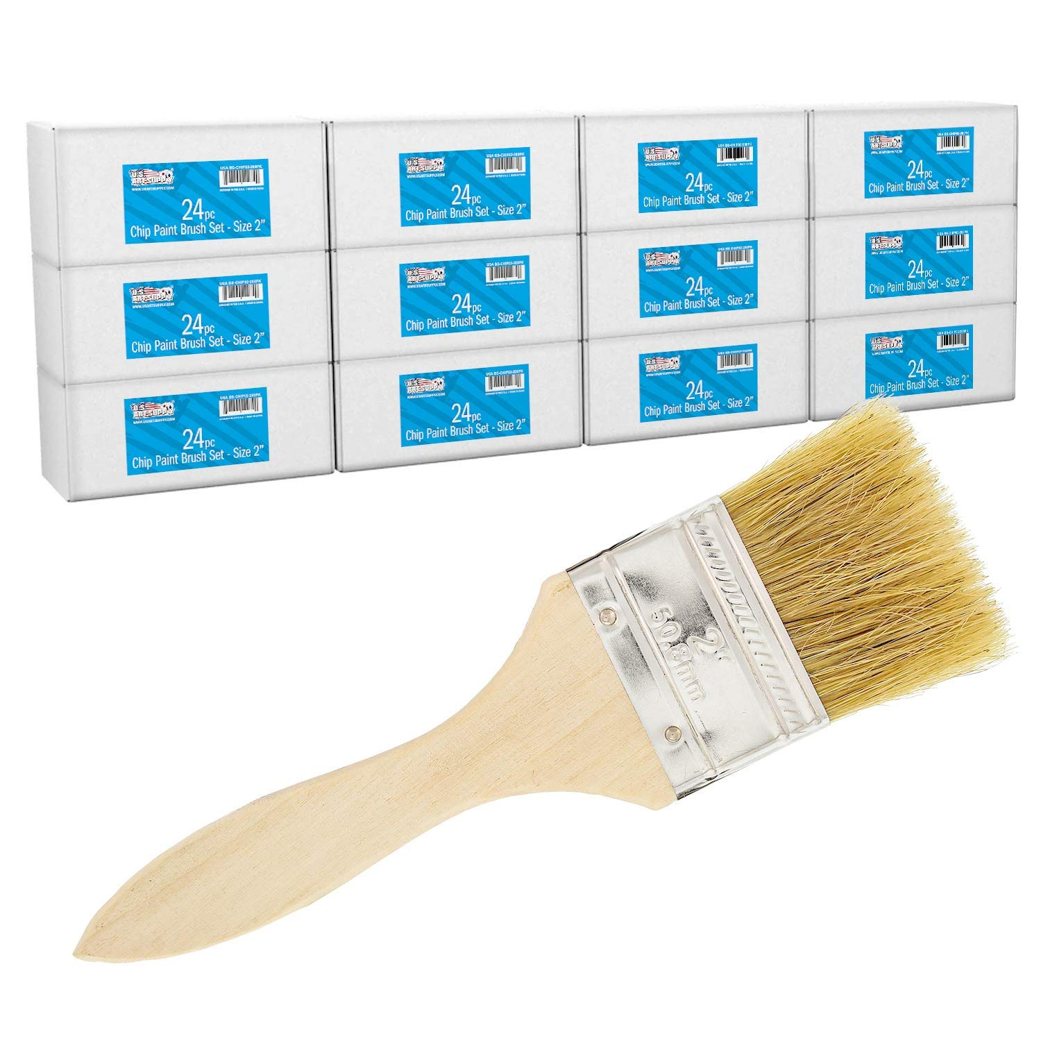 US Art Supply 288 Pack of 2 inch Paint and Chip Paint Brushes for Paint, Stains, Varnishes, Glues, and Gesso