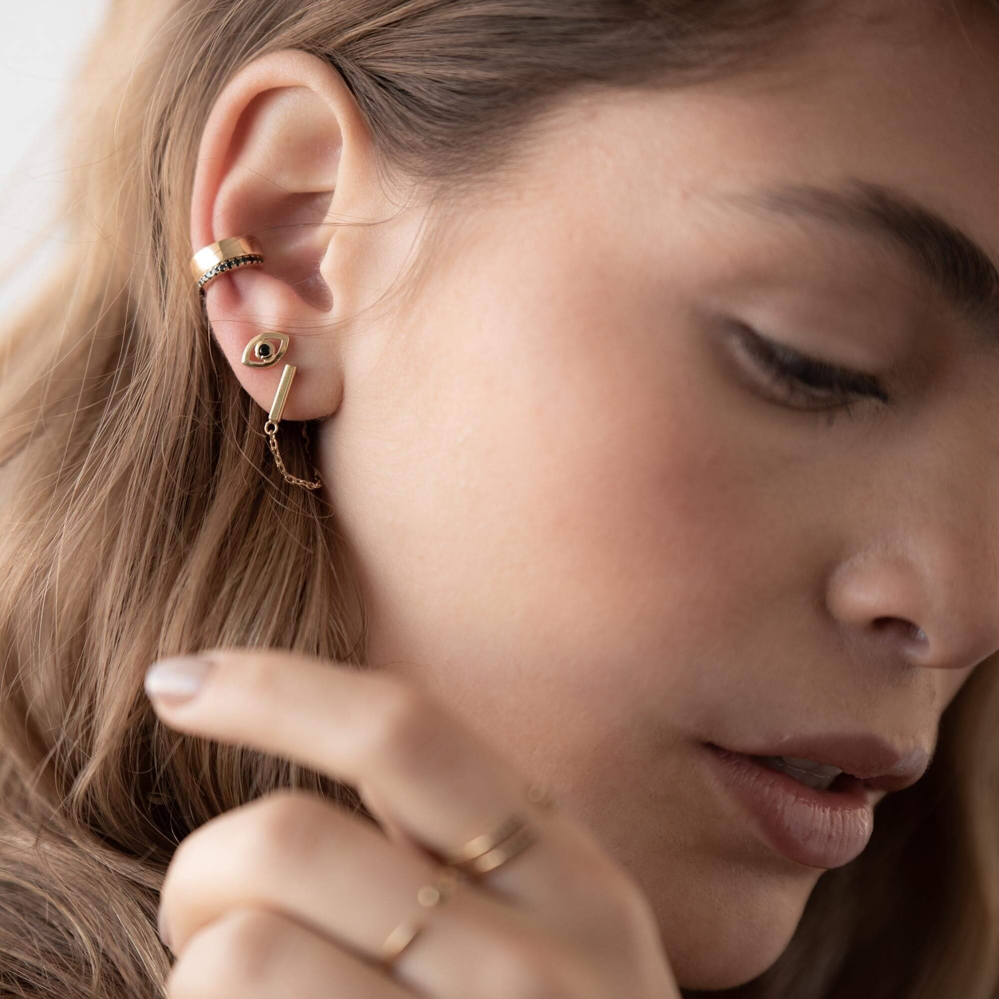 Drop Bar Earrings with Line Chain in Silver/Gold - Staple Bar Line Cable Studs for Her - Minimalist Modern Design by Galis (Gold-Plated)
