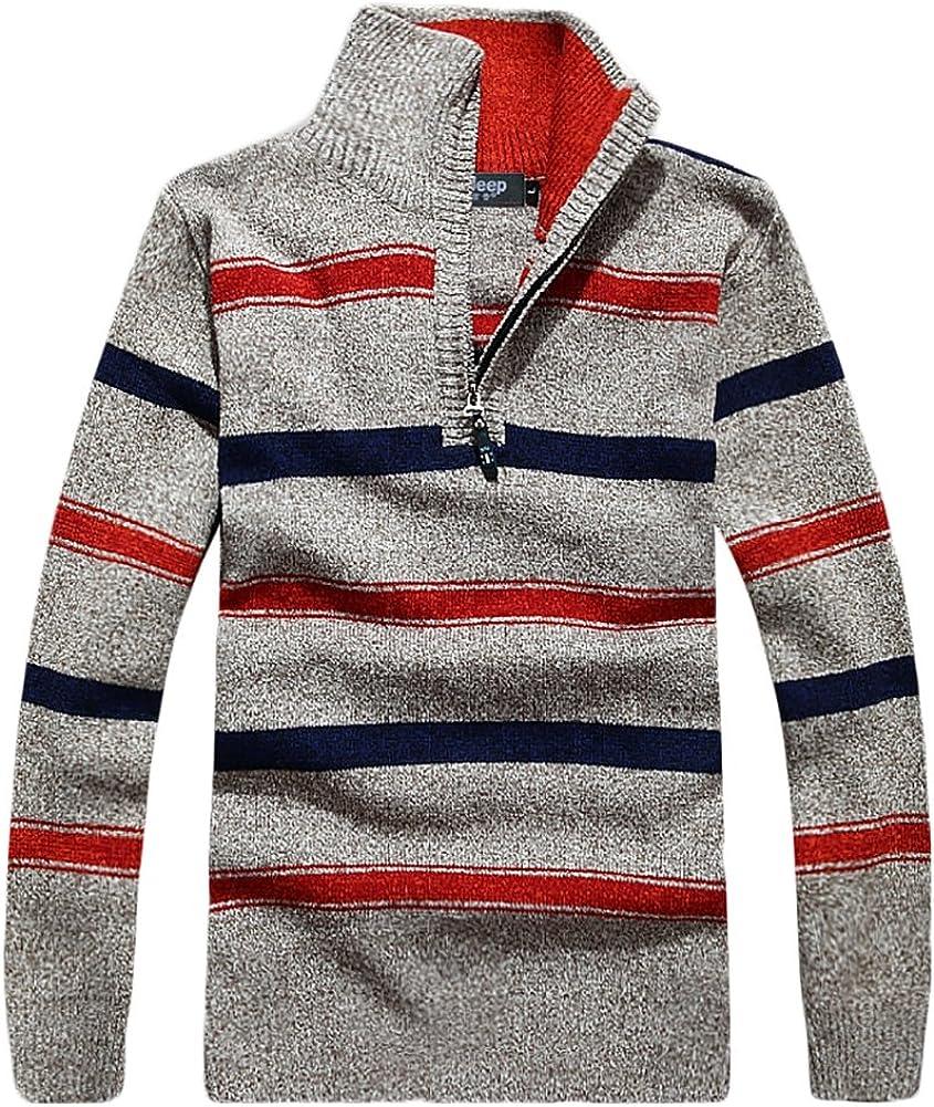 Insun Mens Stripes Stand Collar Regular Fit Pullover Sweater Half Zip